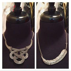 Silvertone 2 Necklaces Bundle Sailor Rope Feather